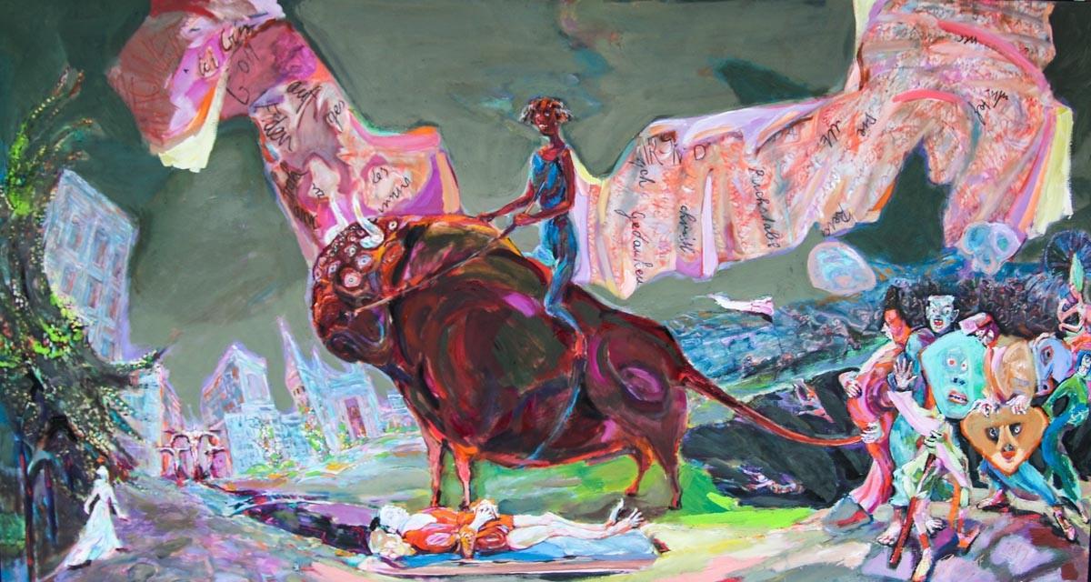 ANTOINETTE, Europa und Narren, 2012, Öl auf Leinwand, 80 x 150 cm, © VG Bild Kunst, Bonn, 2016, Foto: FM Rohm